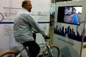 stand interactif avec velo pour faire la demonstration du produit