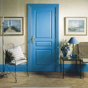 Porte bleu avec âme isolante