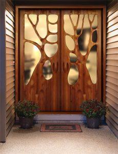 Porte d'entrée design en bois