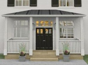 Porte en bois couverte en dessous d'un porche